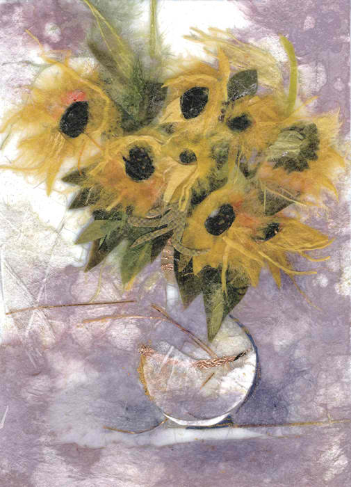 Sunflowers in a white vase
